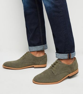 Khaki Suedette Woven Embossed Derby Shoes