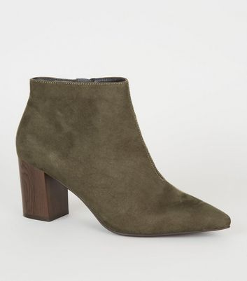 Khaki Suedette Wood Heel Shoe Boots by New Look