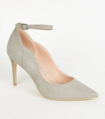 Grey Suedette Pointed Ankle Strap Courts