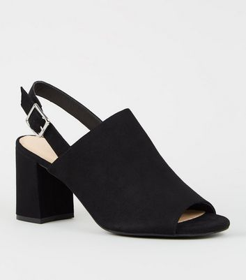 Black Comfort Flex Peep Toe Block Heels