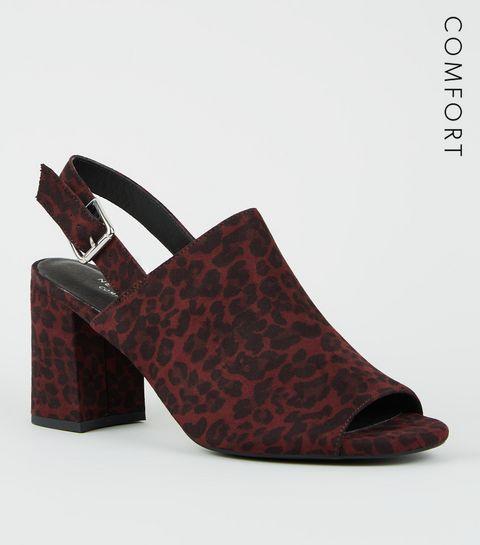 ... Burgundy Comfort Flex Animal Print Peep Toe Block Heels ... 8dc789fa5