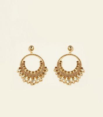 Gold Gem Embellished Hoop Drop Earrings by New Look