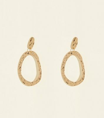 Gold Abstract Hammered Teardrop Earrings