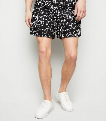 Black Scribble Print Shorts