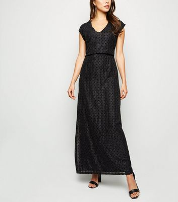 Mela Black Glitter Stripe Lace Maxi Dress