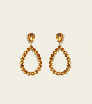 Yellow Gem Embellished Teardrop Earrings