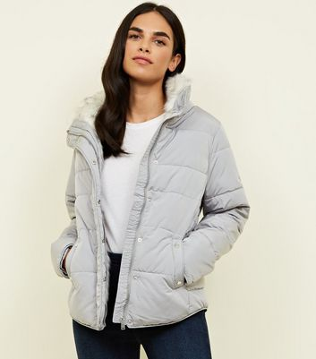 Grey Faux Fur Lined Fitted Puffer Jacket