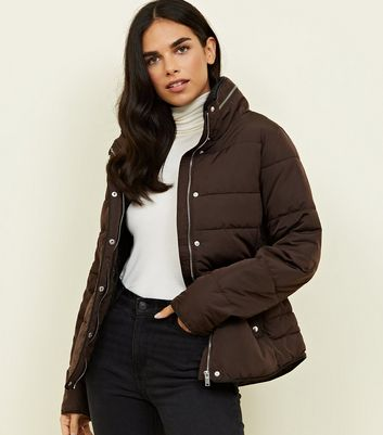 Dark Brown Faux Fur Lined Fitted Puffer Jacket