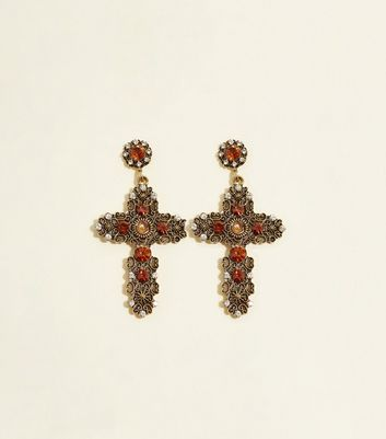 Rust Gem Cross Earrings