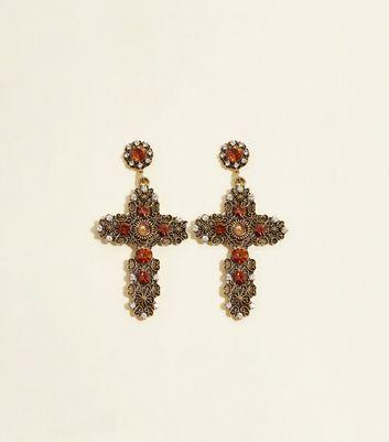Rust Gem Cross Earrings by New Look