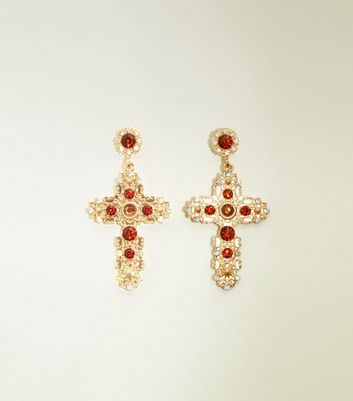 Red And Gold Embellished Ornate Cross Earrings by New Look