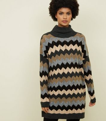 Blue Zig Zag Roll Neck Jumper Dress
