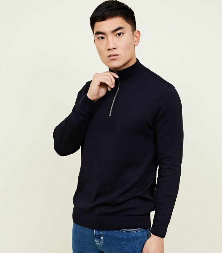 447c01c4b8c Navy Half Zip Funnel Neck Jumper Add to Saved Items Remove from Saved Items