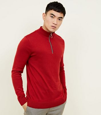 Red Half Zip Funnel Neck Jumper