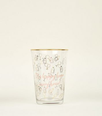 Clear Happy Hour Slogan Tumbler Glass