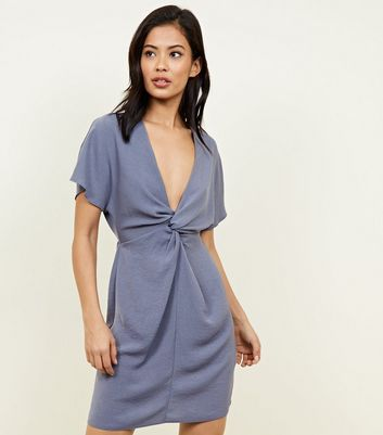 Grey Plunge Twist Front Dress