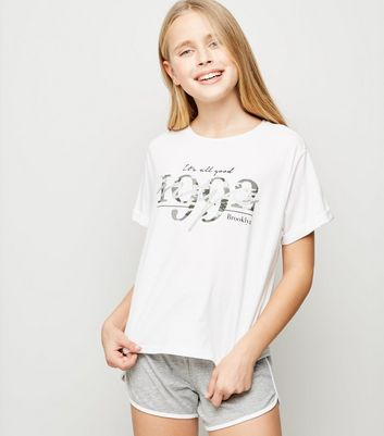 Girls White 1992 Camo Print Pyjama Set