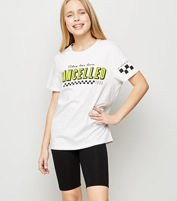 Girls White Cancelled Slogan Pyjama Set
