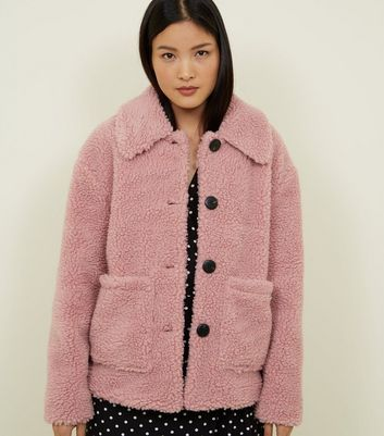 Mid Pink Teddy Borg Button Front Jacket
