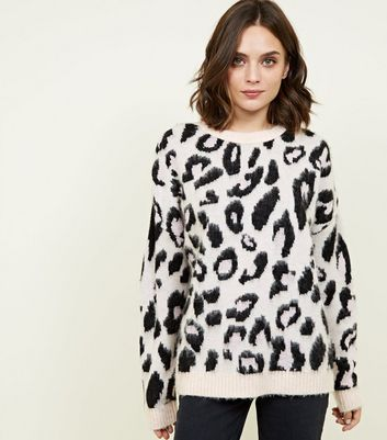 Pale Pink Brushed Leopard Print Jumper