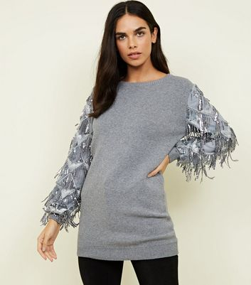 Cameo Rose Pale Grey Sequin Sleeve Jumper
