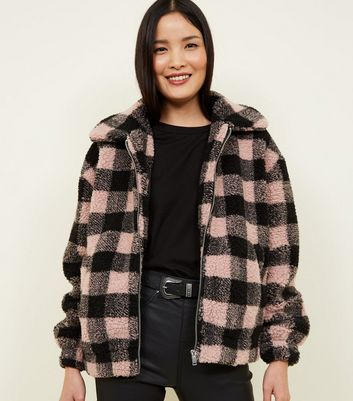 Pink Check Teddy Borg Bomber Jacket