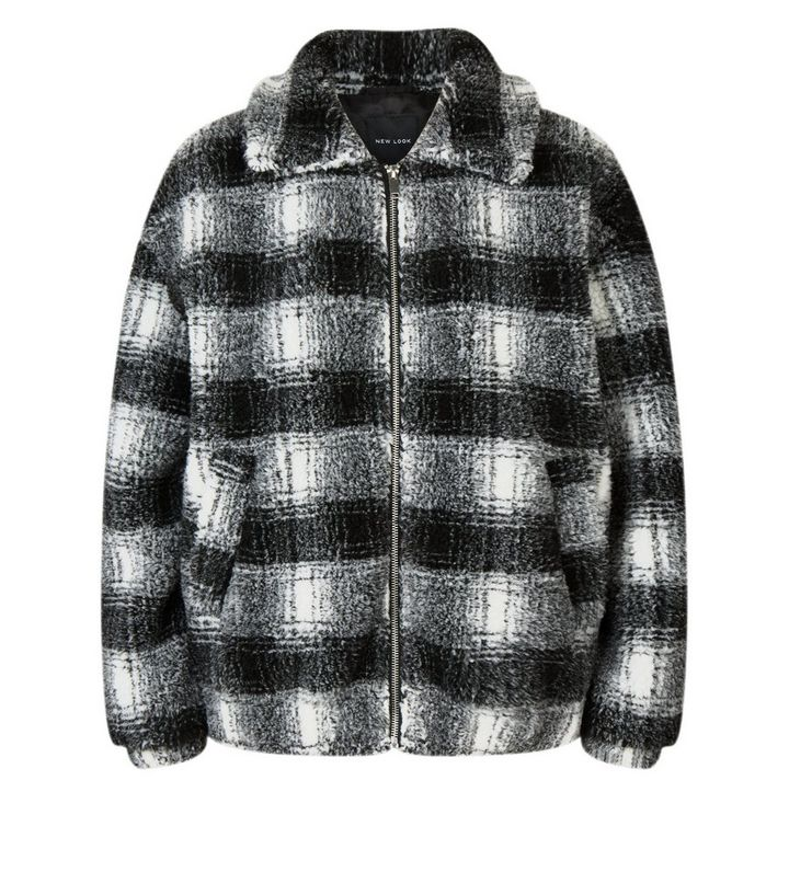 f90c3ed0a Black Check Teddy Borg Bomber Jacket Add to Saved Items Remove from Saved  Items