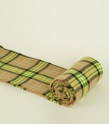 Camel and Neon Green Check Scarf