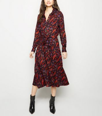 Black Paisley Print Midi Shirt Dress