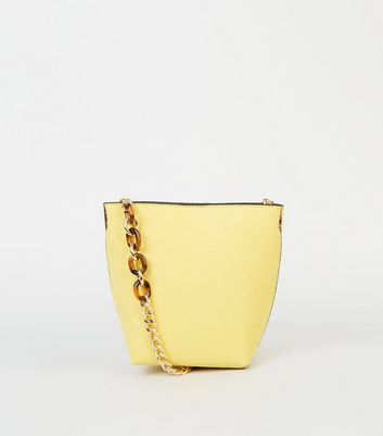 Yellow Suedette Resin Chain Bucket Bag by New Look