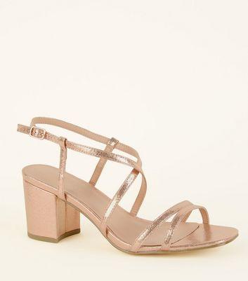 Wide Fit Sandales couleur or rose à talons blocs et à deux parties Ajouter à la Wishlist Supprimer de la Wishlist