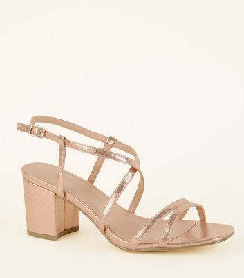 Wide Fit Rose Gold Shimmer Strappy