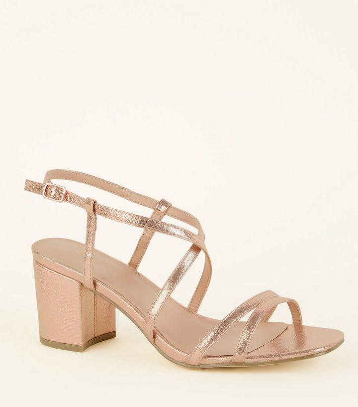 4eff61159fc Wide Fit Rose Gold Shimmer Strappy Block Heels