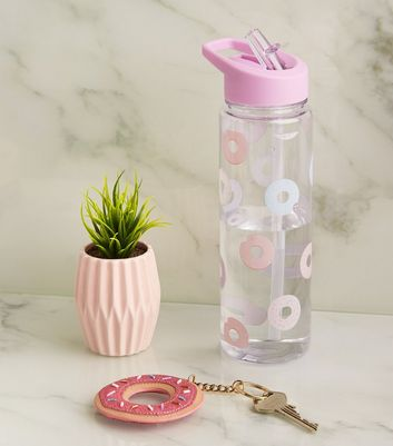 Pink Doughnut Print Flip Straw 700ml Water Bottle