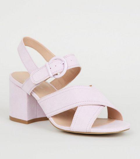 ce051e94495 ... Girls Lilac Suedette Block Heel Sandals ...