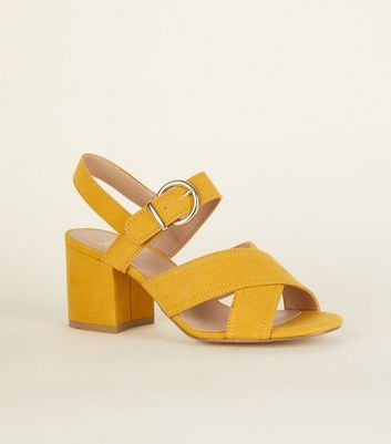 Girls Mustard Suedette Block Heel Sandals