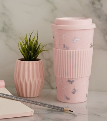 Pink Unicorn Print Travel Mug