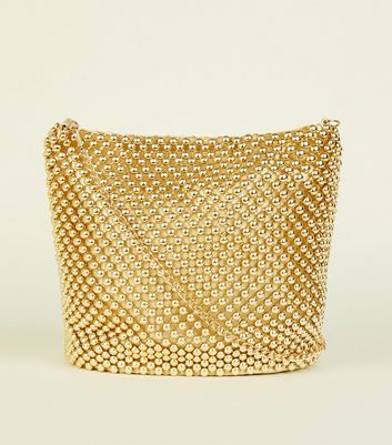 Gold Beaded Bucket Bag