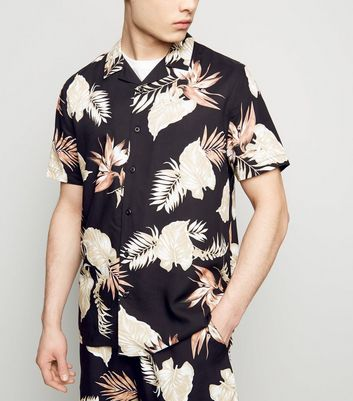 Black Leaf Print Revere Collar Shirt