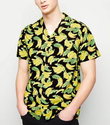 Black Banana Print Short Sleeve Shirt