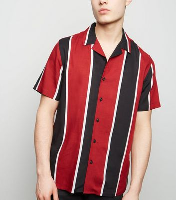 Red Vertical Stripe Short Sleeve Shirt