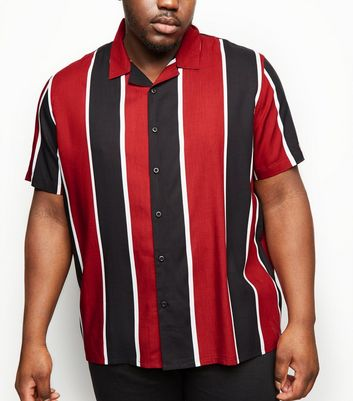 Plus Size Red Vertical Stripe Revere Collar Shirt