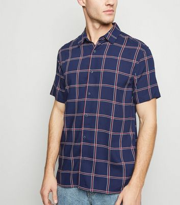 Navy Check Print Short Sleeve Shirt