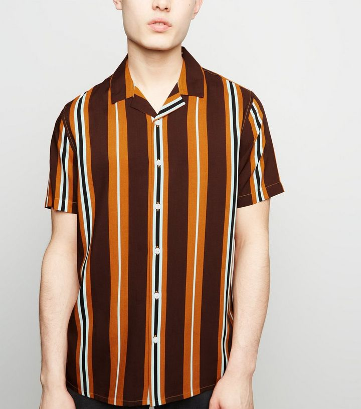 0326440358a Rust Vertical Stripe Short Sleeve Shirt Add to Saved Items Remove from  Saved Items