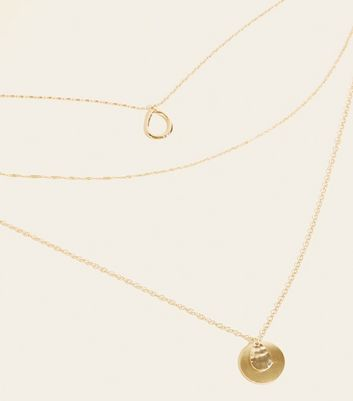 Wanted Gold Mixed Chain Layered Pendant Necklace by New Look