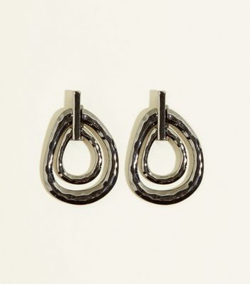 WANTED Pewter Hammered Linked Oval Earrings
