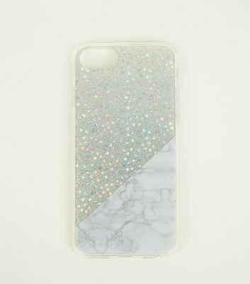 Silver Glitter and Marble Effect iPhone 6/6s/7/8 Case