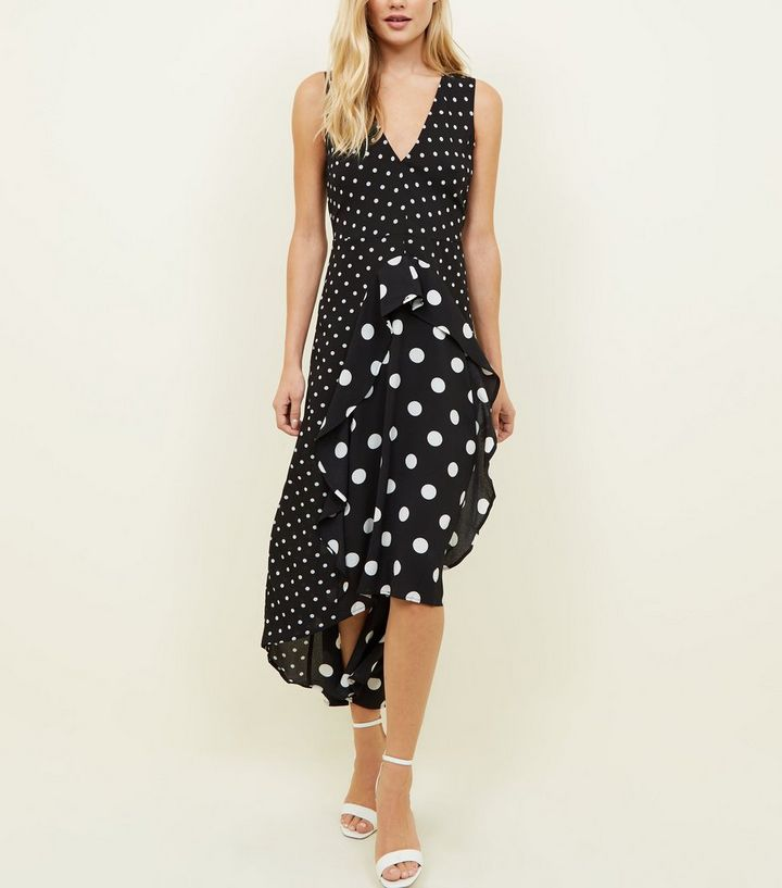 4372872674d65 AX Paris Black Spot Print Frill Midi Dress | New Look