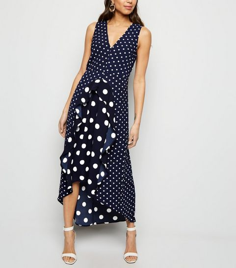 00168dde61 ... AX Paris Navy Spot Print Frill Midi Dress ...