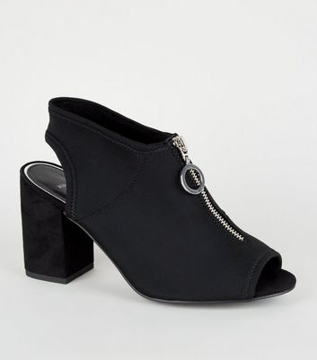 Wide Fit Black Ring Zip Sock Peep Toes